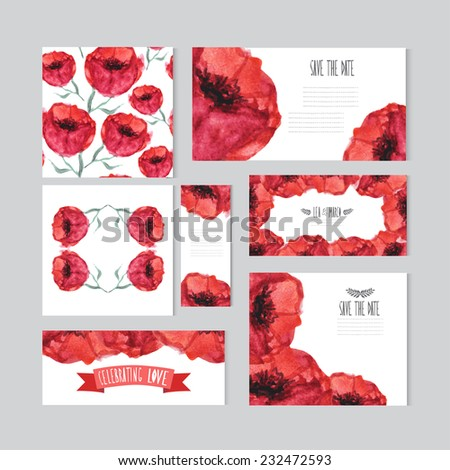 Elegant watercolor red floral cards, design elements. Can be used for wedding, baby shower, mothers day, valentines day, birthday cards, invitations, banners, flyers, gift wrap, print, manufacturing - stock vector