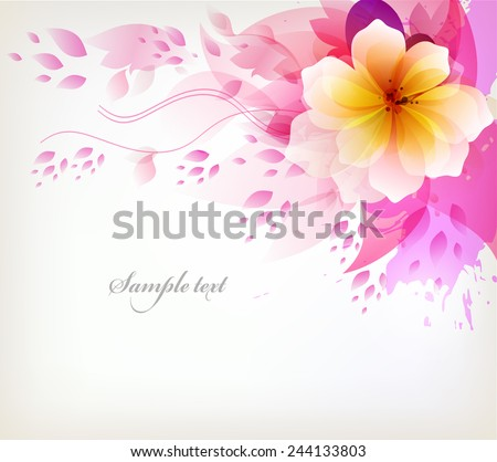 Elegant Watercolor vector background with colorful flower and blots. - stock vector