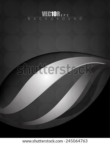 elegant wave metallic chrome elements on dark background eps10 vector - stock vector