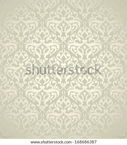 Elegant wedding background with light damask design  - stock vector