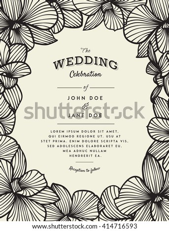 Elegant wedding invitation with orchid flowers - stock vector