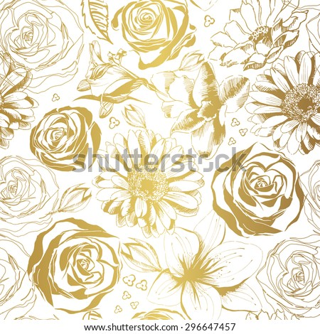 Elegant white pattern with gold flowers. Vector illustration.  - stock vector