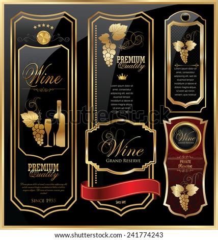 Elegant wine labels - stock vector
