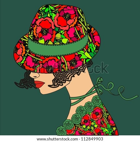 Elegant woman a flower hat (vector illustration). - stock vector