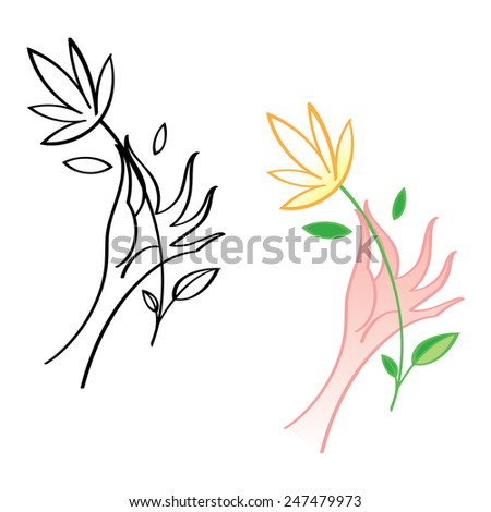 Elegant woman hand with beautiful white flower - stock vector