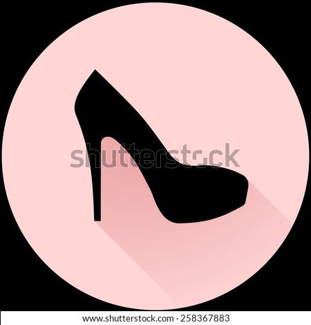 Elegant women high heel shoe symbol. Women's black silhouette shoe icon. flat and shadow theme design sign, vector art image illustration, isolated on pastel pink background, eps10 - stock vector