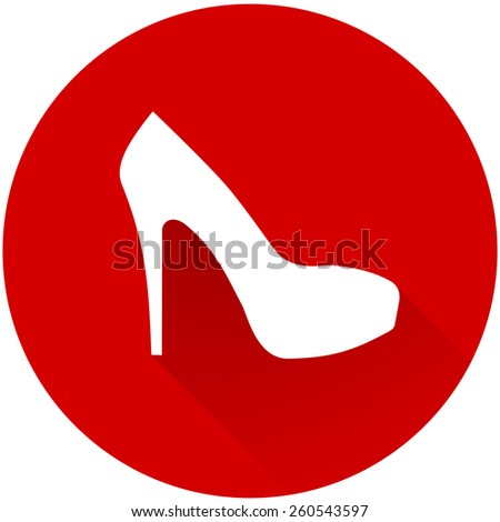 Elegant women high heel shoe symbol. Women's white silhouette shoe icon. flat and shadow theme design sign, vector art image illustration, isolated on red color background, eps10 - stock vector