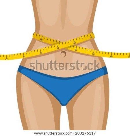 elegant women's waist with a yellow measuring tape - stock vector