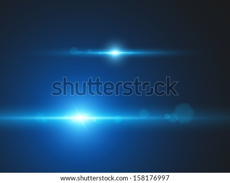 Element blue light with lens effect. Look at my portfolio, there are many sets of a similar effects. - stock vector