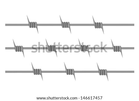element of barbed wire on a white background - stock vector