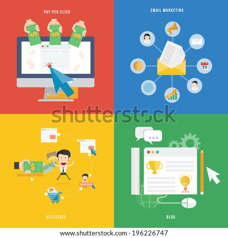 Element of E-commerce, Pay per click marketing and affiliate concept icon in flat design  - stock vector