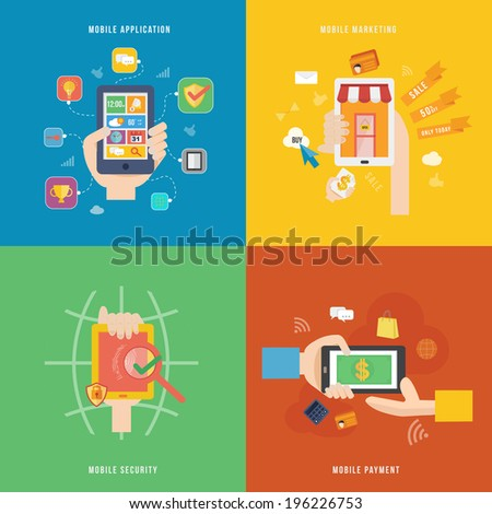 Element of mobile payment, application and marketing concept icon in flat design  - stock vector