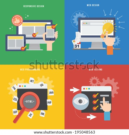 Element of web development concept icon in flat design  - stock vector