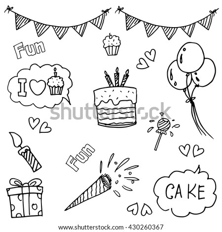Element party doodle vector art for kids - stock vector