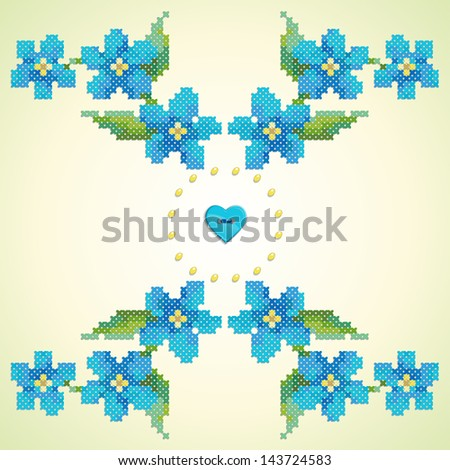 Element seamless vector pattern. Imitation of hand embroidery cross stitch. Forget-me-not, button heart and beads. - stock vector