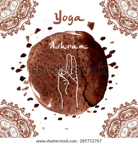 Element yoga mudra hands with mehendi patterns. Vector illustration for a yoga studio, tattoo, spa, postcards, souvenirs. Indian traditional lifestyle.Pran Mudra  - stock vector