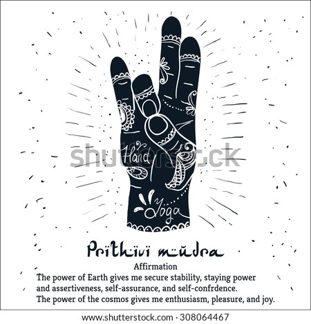 Element yoga Prithivi mudra hands with mehendi patterns. Vector illustration for a yoga studio, tattoo, spa, postcards, souvenirs.  - stock vector