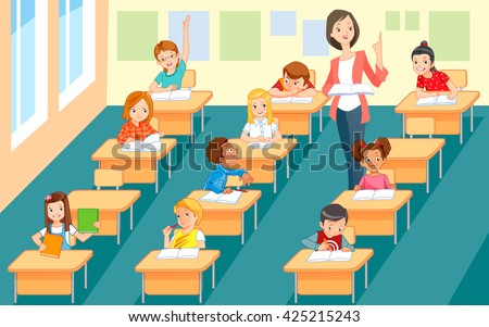 Elementary teacher having a class with large group of children. - stock vector