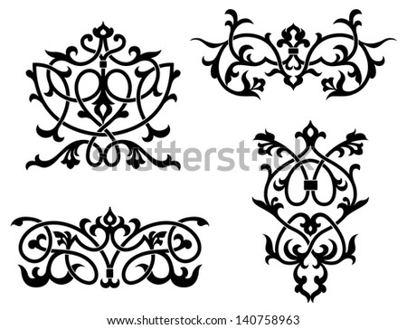 Elements and borders in vintage style for design. Jpeg (bitmap) version also available in gallery - stock vector