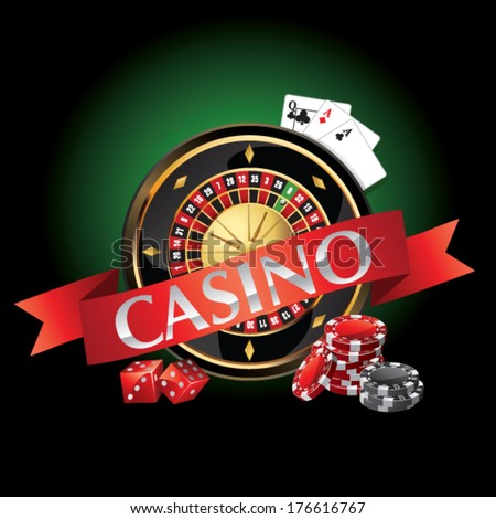 elements casino, roulette, cards - stock vector