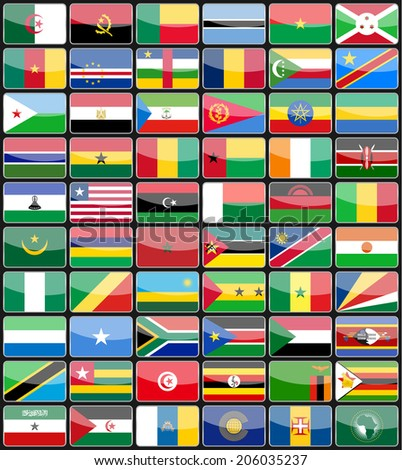 Elements design icons flags of the countries of Africa. Vector illustration - stock vector