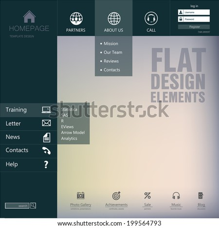 Elements design  of the menu for a website. Homepage. Gui - stock vector