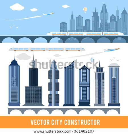 Elements for construction city in vector. Editable items for your design. Set of skyscrapers, train, plane and bridge. Engineering concept. Building project. Architecture development. Flat design - stock vector
