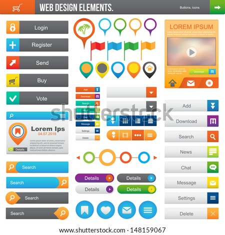 Elements for website: color buttons, icons, navigation.  - stock vector