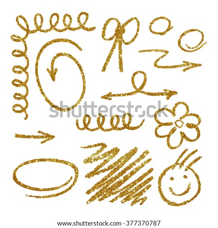 Elements made of gold glitter texture. Vector illustration - stock vector