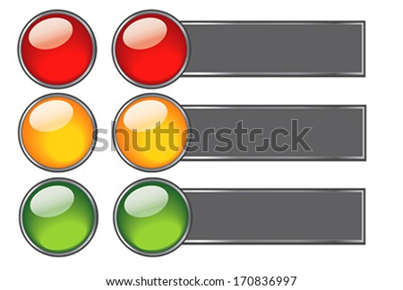 Elements of buttons with colours of traffic light for web design. Illustration, vector - stock vector