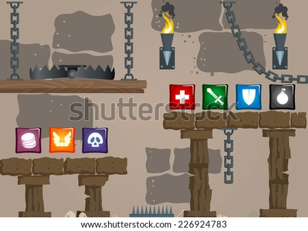 elements of computer old style game arcade - stock vector