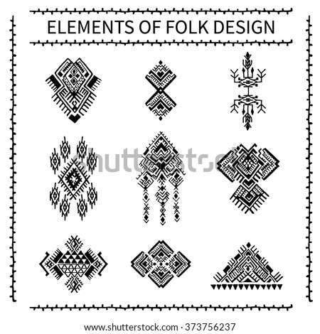 Elements of folk design. Tribal Ethnic collection, the elements of ethnic patterns. Isolated on white background, aztec pattern,  navajo pattern,floral ornament, folk ornament, carpet ornament. - stock vector