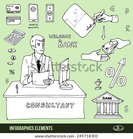 Elements of infographic about visiting the bank, loan or signing a contract - stock vector