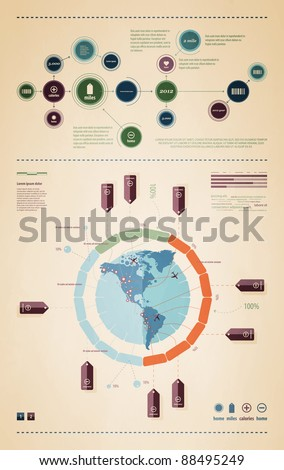 elements of infographics with a map of America in retro style - stock vector