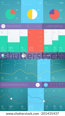 Elements of Infographics with buttons and menus. Vector illustration. - stock vector