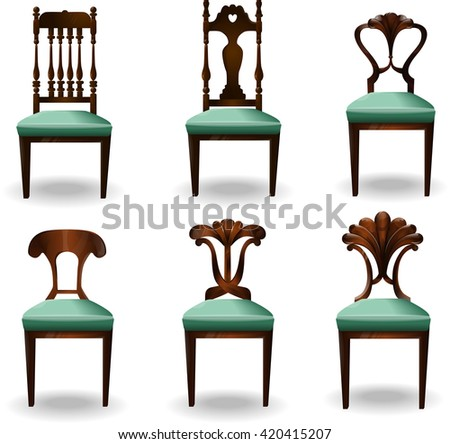 Elements of interior chair.Modern chairs.Creative interior objects collection.Chair classic detailed vector illustration.Furniture icons.Vector chair isolated on a white background.Big set. - stock vector
