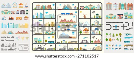 Elements of modern city. Design your own town. Map elements for your pattern, web site or other type of design. - stock vector