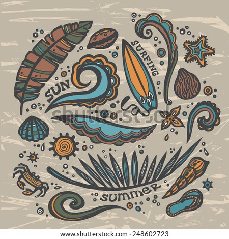 Elements of the surfing and tropical summer. Vector set of surfing sketch. - stock vector