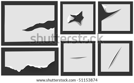 Elements of torn paper with holes for design. Jpeg version also available in gallery - stock vector