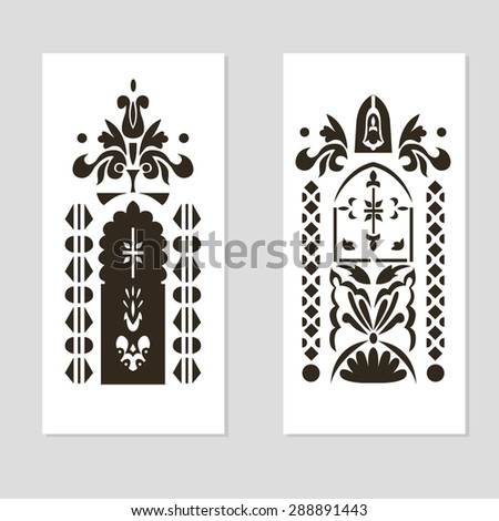 Elements on the theme of death, the funeral ceremony. Vector illustration - stock vector