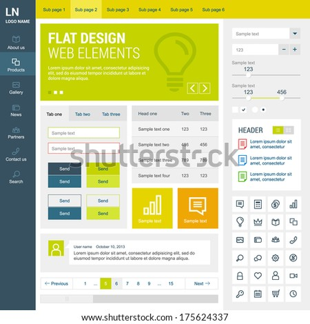 Elements set for the responsive web site. Flat design. - stock vector