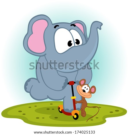 elephant and mouse on scooter - vector illustration - stock vector