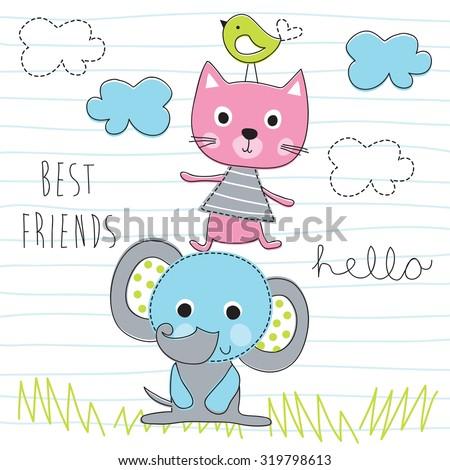 elephant, cat, bird best friends vector illustration - stock vector