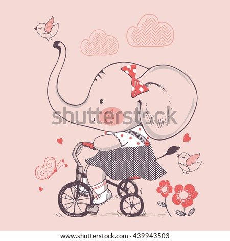 Elephant/hand drawn vector illustration of Cute Elephant girl Riding a Bicycle/Tricycle/can be used for kid's or baby's shirt design/fashion print design/fashion graphic/t-shirt/kids wear - stock vector