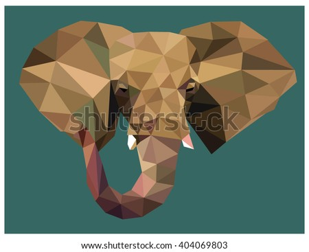 Elephant head colorful low poly design isolated on green background with white outline. Animal portrait card design. Background with wild animal. Vector illustration - stock vector