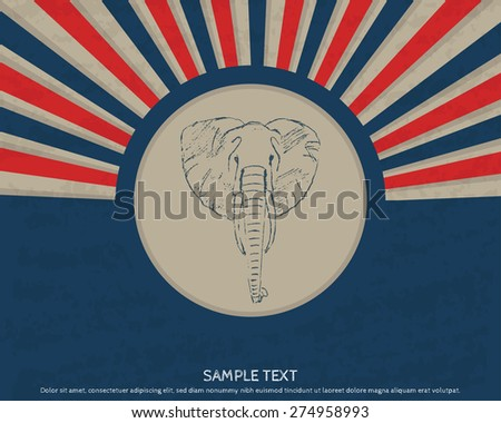 elephant in a vintage poster design element - stock vector