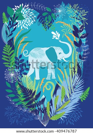 Elephant in the dense jungle undergrowth - stock vector