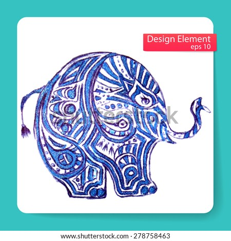 elephant is painted blue handles. Vector illustration  - stock vector