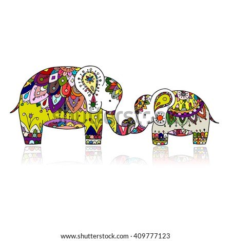 Elephant ornate, sketch for your design - stock vector