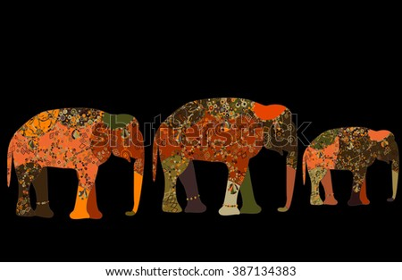 elephant painted by hand is suitable for your projects! - stock vector